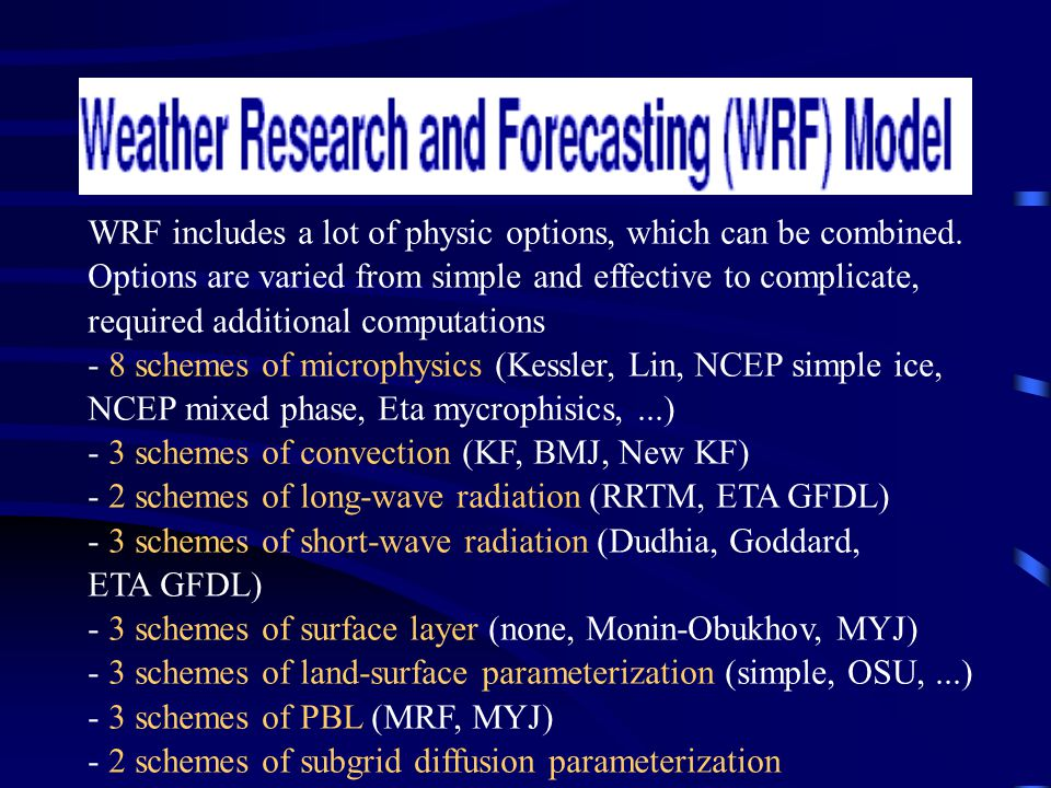 WRF includes a lot of physic options, which can be combined.