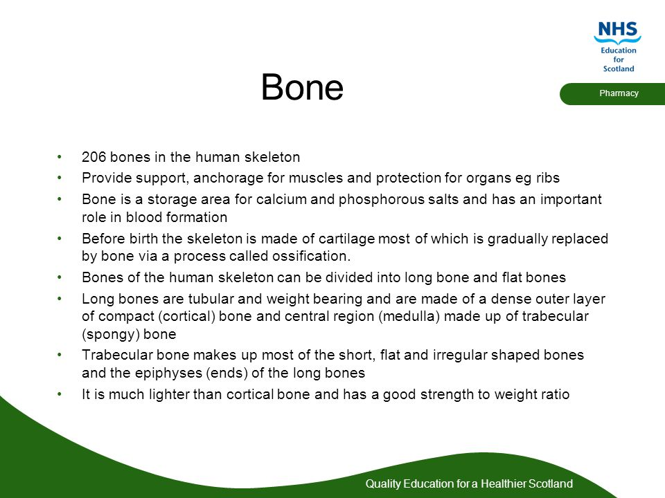 Quality Education for a Healthier Scotland Pharmacy These medicines increase bone mineral density and reduce fractures Why should you consider a patient with osteopenia or osteoporosis for the Chronic Medication Service?