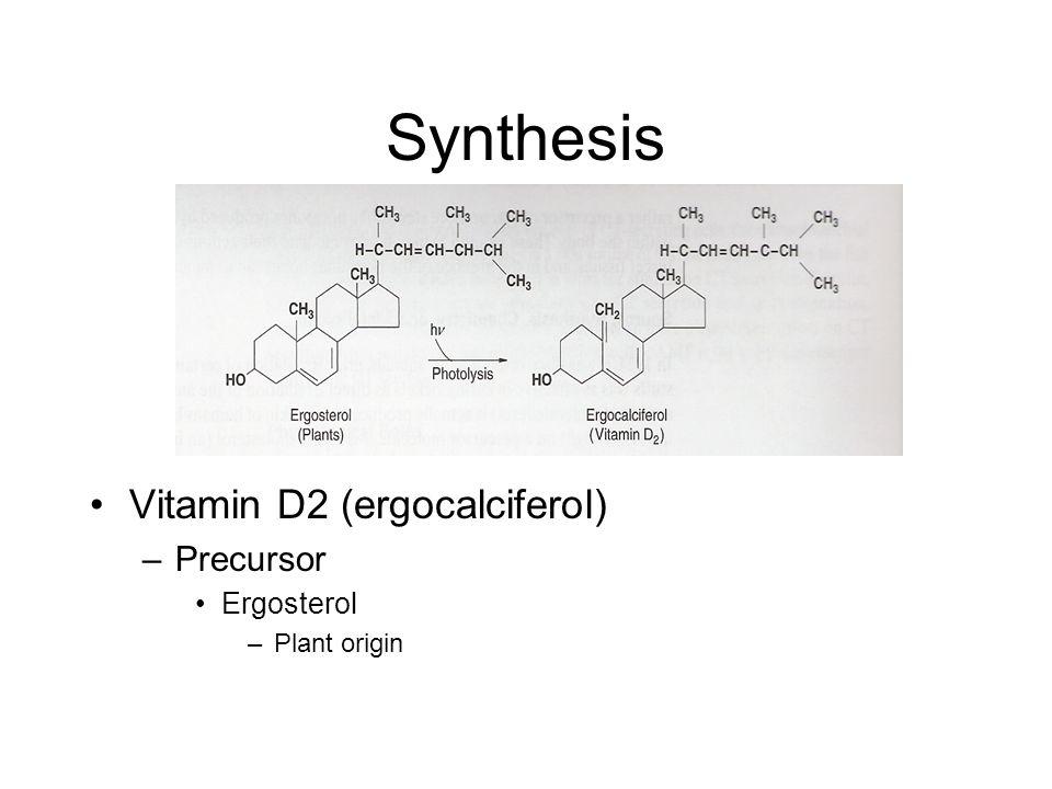 Synthesis Vitamin D2 (ergocalciferol) –Precursor Ergosterol –Plant origin
