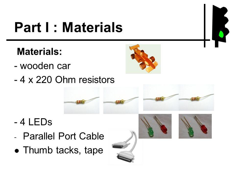 Part I : Materials Materials: - wooden car - 4 x 220 Ohm resistors - 4 LEDs - Parallel Port Cable Thumb tacks, tape