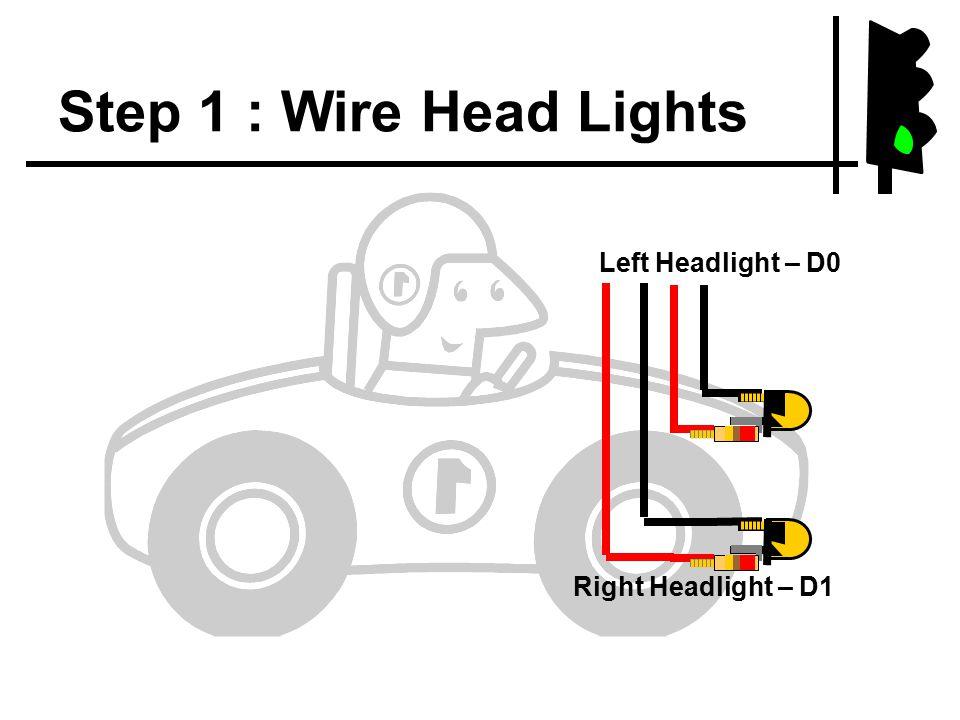 Step 1 : Wire Head Lights Left Headlight – D0 Right Headlight – D1