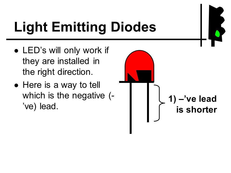 Light Emitting Diodes LED's will only work if they are installed in the right direction.