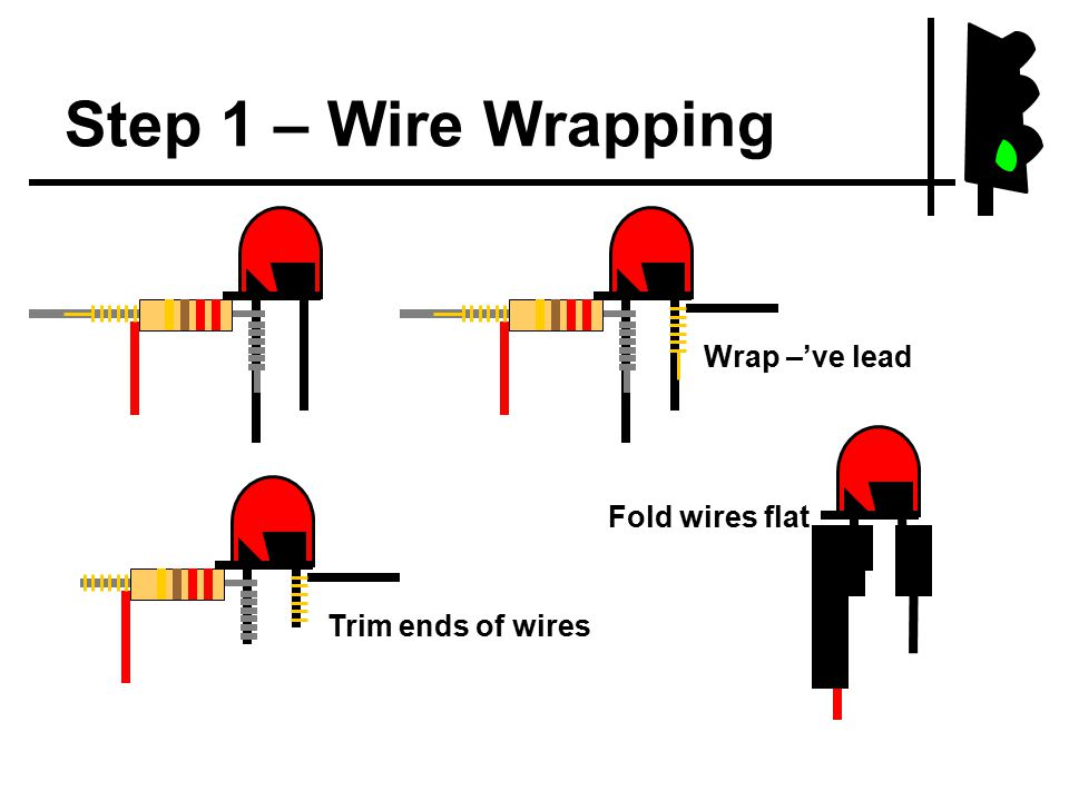 Step 1 – Wire Wrapping Wrap –'ve lead Trim ends of wires Fold wires flat