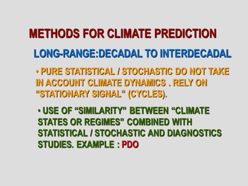 LONG-RANGE:DECADAL TO INTERDECADAL PURE STATISTICAL / STOCHASTIC DO NOT TAKE IN ACCOUNT CLIMATE DYNAMICS.
