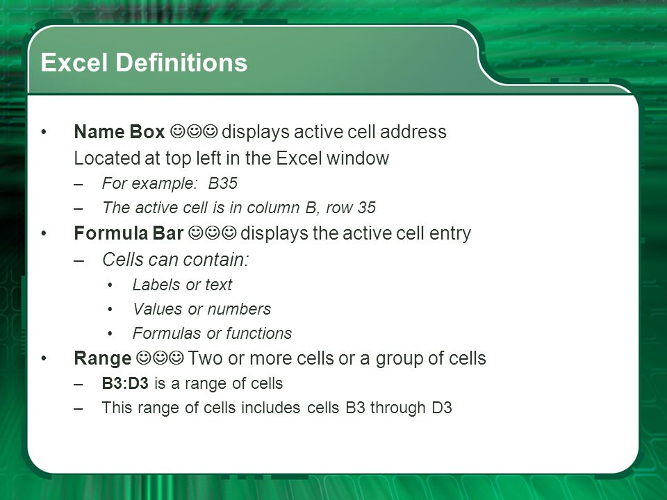 Excel Definitions Rows Horizontal information, labeled 1, 2, 3 Columns Vertical information, labeled A, B, C.XLS – Automatic Excel document extension
