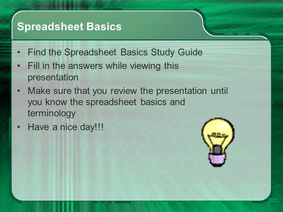 Spreadsheet Basics Computer Technology