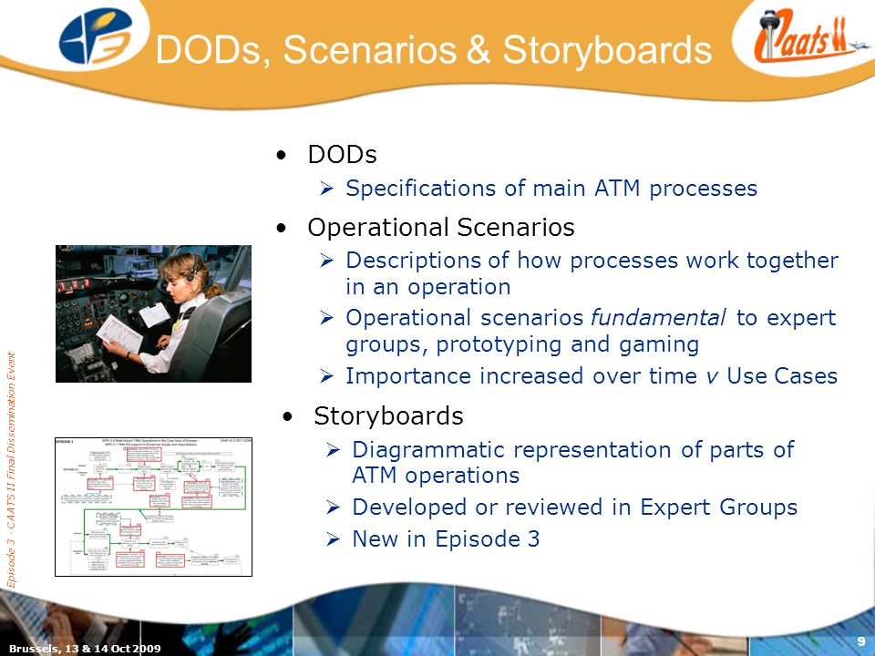 Brussels, 13 & 14 Oct 2009 Episode 3 - CAATS II Final Dissemination Event 9 DODs, Scenarios & Storyboards DODs  Specifications of main ATM processes Operational Scenarios  Descriptions of how processes work together in an operation  Operational scenarios fundamental to expert groups, prototyping and gaming  Importance increased over time v Use Cases Storyboards  Diagrammatic representation of parts of ATM operations  Developed or reviewed in Expert Groups  New in Episode 3