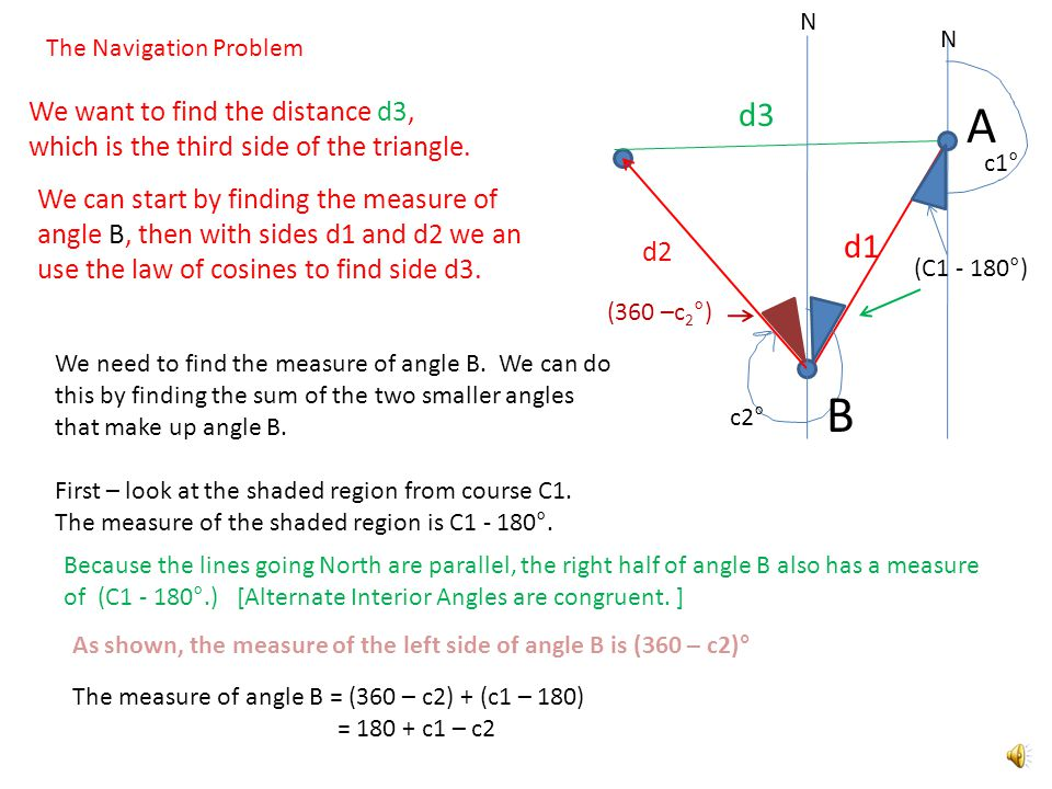 A c1° The Navigation Problem c2° d1 d2 d3 We want to find the distance d3, which is the third side of the triangle.