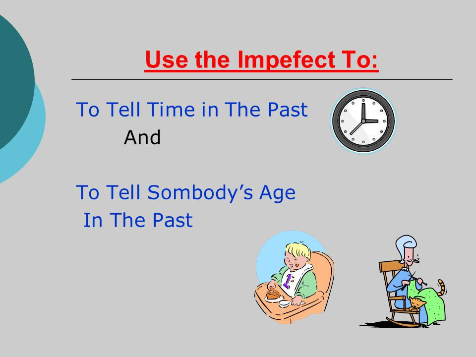 Use the Impefect To: To Tell Time in The Past And To Tell Sombody's Age In The Past