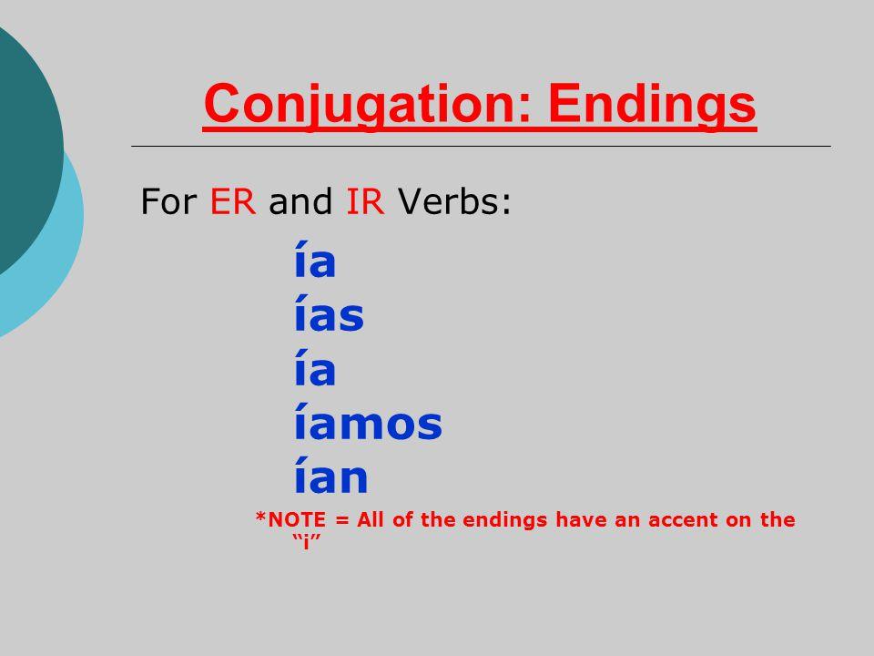 Conjugation: Endings For ER and IR Verbs: ía ías ía íamos ían *NOTE = All of the endings have an accent on the i