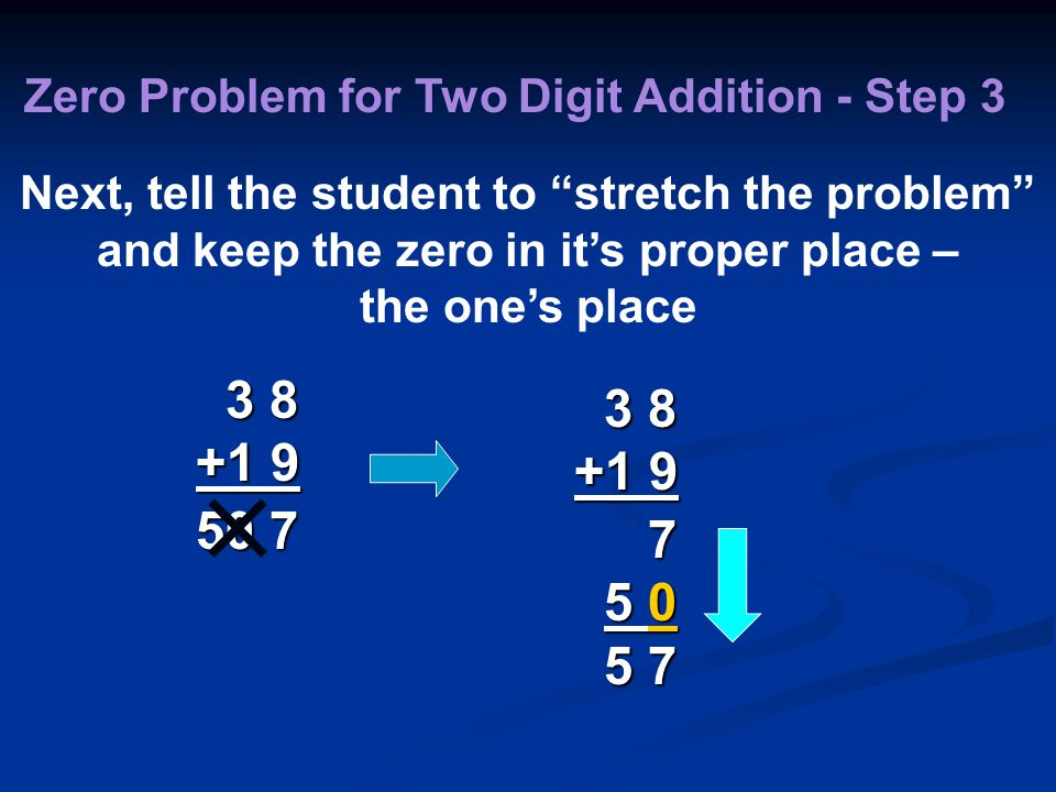 3 8 +1 9 50 7 Zero Problem for Two Digit Addition - Step 3 Next, tell the student to stretch the problem and keep the zero in it's proper place – the one's place 3 8 +1 9 7 5 0 5 0 5 7 5 7