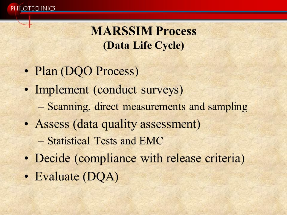 PHILOTECHNICS MARSSIM Process (Data Life Cycle) Plan (DQO Process) Implement (conduct surveys) –Scanning, direct measurements and sampling Assess (dat