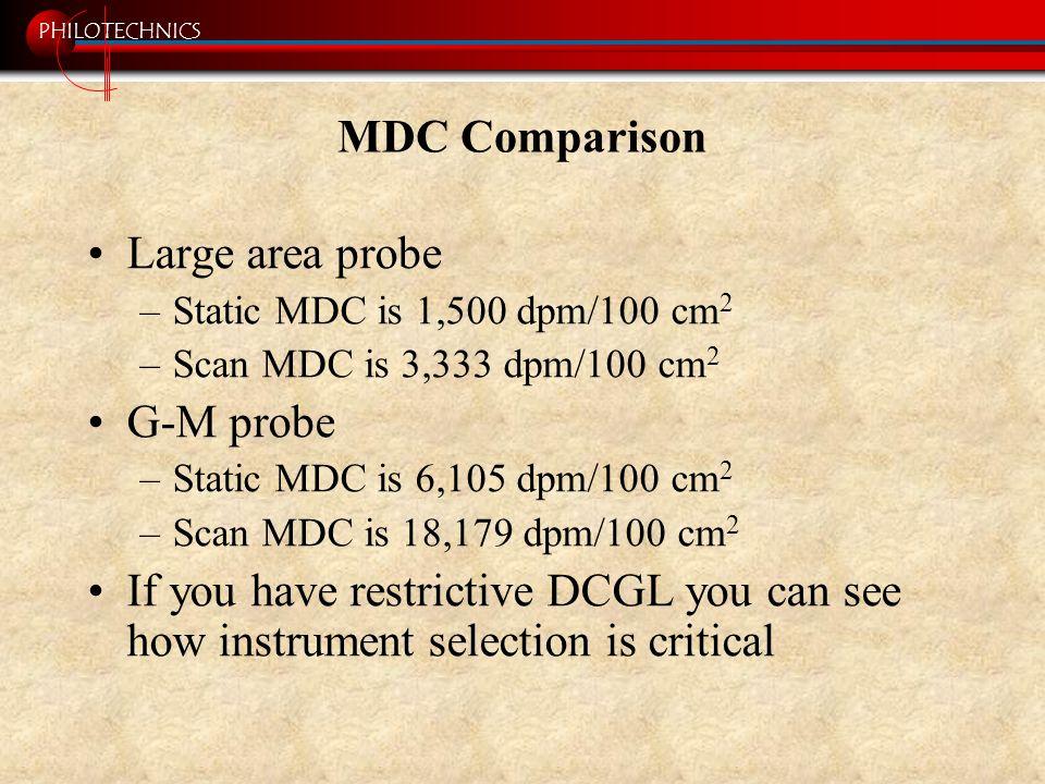 PHILOTECHNICS MDC Comparison Large area probe –Static MDC is 1,500 dpm/100 cm 2 –Scan MDC is 3,333 dpm/100 cm 2 G-M probe –Static MDC is 6,105 dpm/100 cm 2 –Scan MDC is 18,179 dpm/100 cm 2 If you have restrictive DCGL you can see how instrument selection is critical