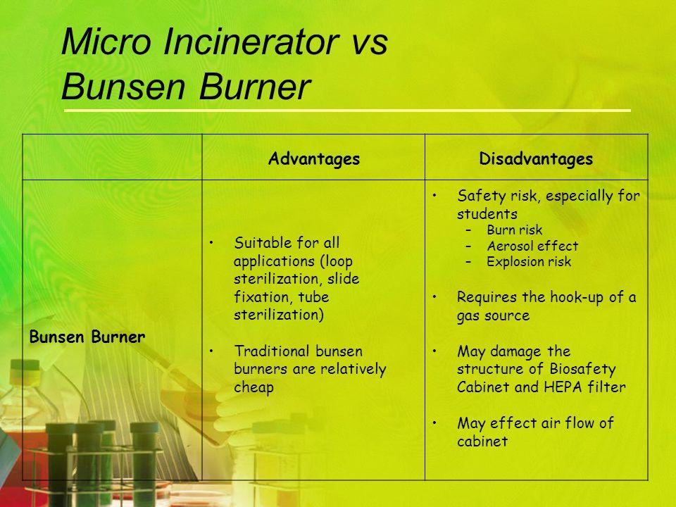 Micro Incinerator vs Bunsen Burner AdvantagesDisadvantages Bunsen Burner Suitable for all applications (loop sterilization, slide fixation, tube steri