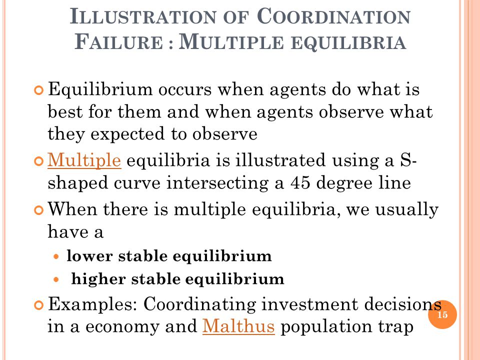I LLUSTRATION OF C OORDINATION F AILURE : M ULTIPLE EQUILIBRIA Equilibrium occurs when agents do what is best for them and when agents observe what th