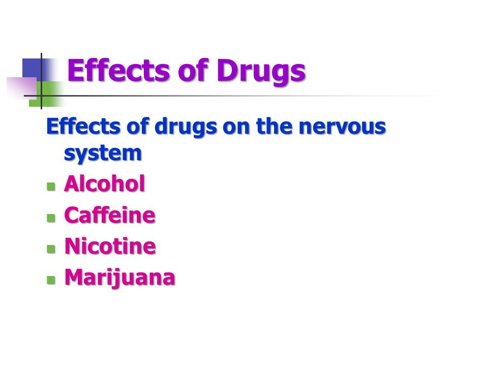 Effects of Drugs Effects of drugs on the nervous system Alcohol Alcohol Caffeine Caffeine Nicotine Nicotine Marijuana Marijuana