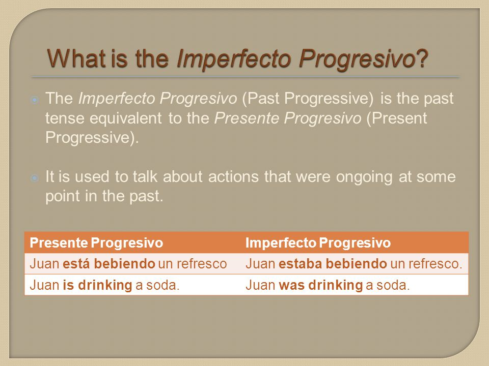  The Imperfecto Progresivo (Past Progressive) is the past tense equivalent to the Presente Progresivo (Present Progressive).