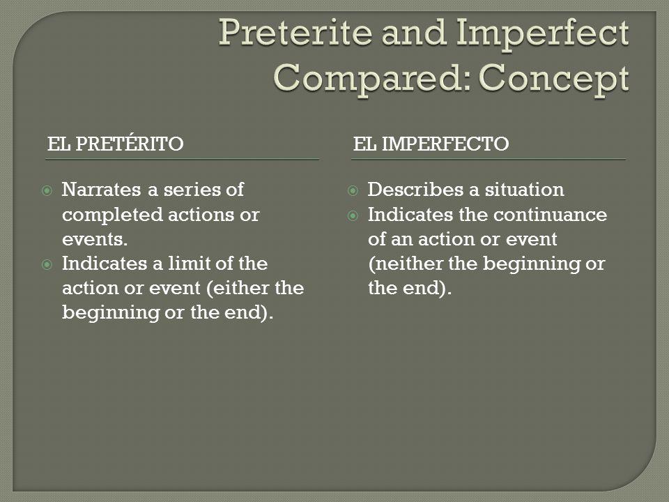 EL PRETÉRITOEL IMPERFECTO  Narrates a series of completed actions or events.