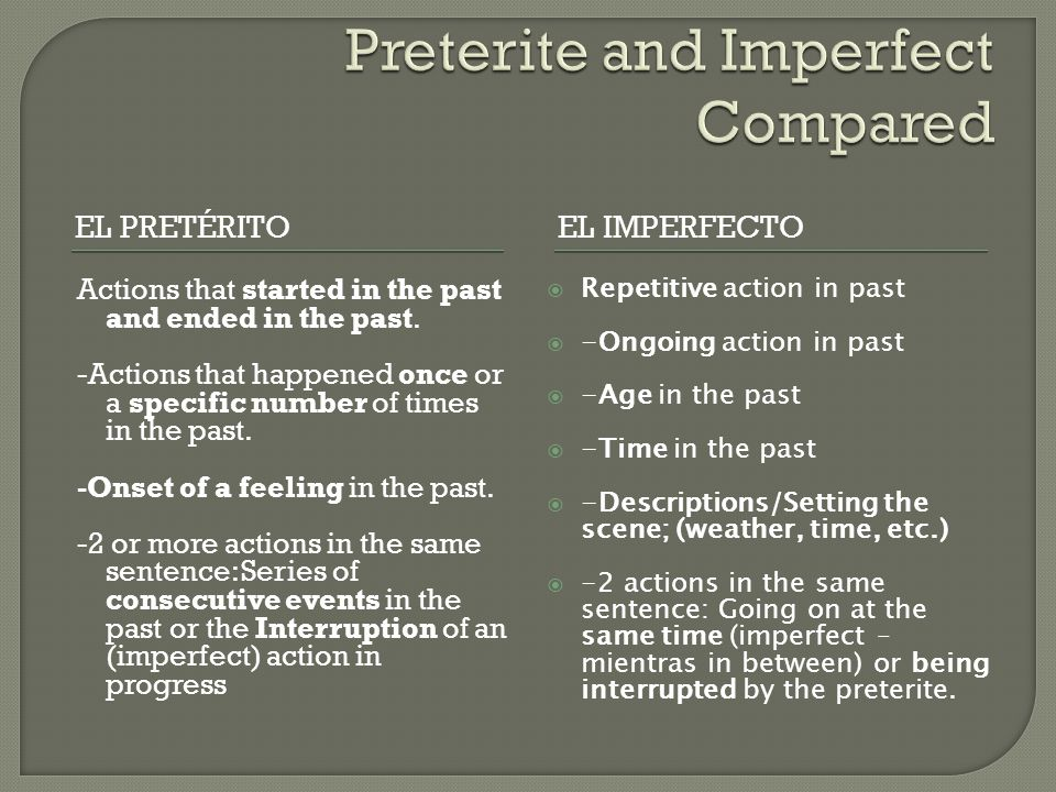 EL PRETÉRITOEL IMPERFECTO Actions that started in the past and ended in the past. -Actions that happened once or a specific number of times in the pas