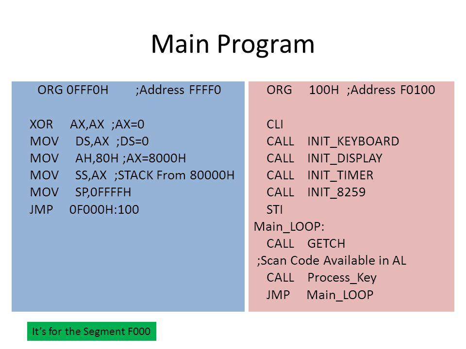 Main Program ORG 0FFF0H ;Address FFFF0 XOR AX,AX ;AX=0 MOV DS,AX ;DS=0 MOV AH,80H ;AX=8000H MOV SS,AX ;STACK From 80000H MOV SP,0FFFFH JMP 0F000H:100 ORG 100H;Address F0100 CLI CALL INIT_KEYBOARD CALL INIT_DISPLAY CALL INIT_TIMER CALL INIT_8259 STI Main_LOOP: CALL GETCH ;Scan Code Available in AL CALL Process_Key JMP Main_LOOP It's for the Segment F000