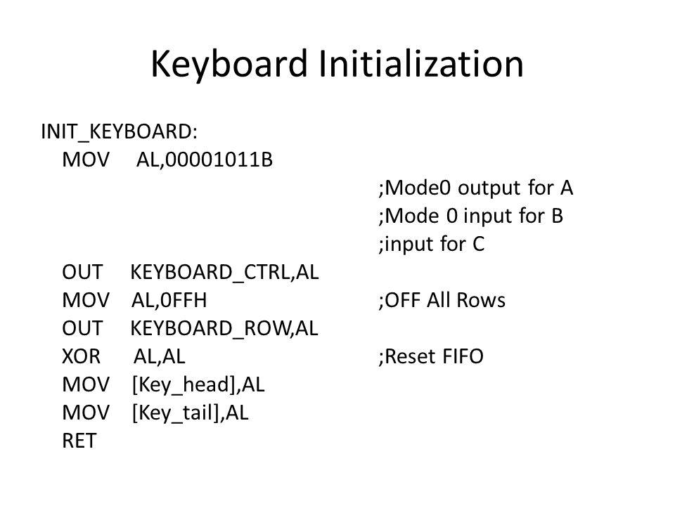 Keyboard Initialization INIT_KEYBOARD: MOV AL,00001011B ;Mode0 output for A ;Mode 0 input for B ;input for C OUT KEYBOARD_CTRL,AL MOV AL,0FFH ;OFF All Rows OUT KEYBOARD_ROW,AL XOR AL,AL ;Reset FIFO MOV [Key_head],AL MOV [Key_tail],AL RET
