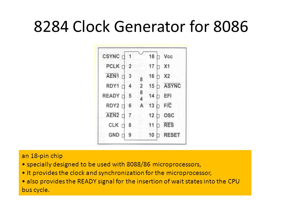 8284 Clock Generator for 8086 an 18-pin chip specially designed to be used with 8088/86 microprocessors, It provides the clock and synchronization for the microprocessor, also provides the READY signal for the insertion of wait states into the CPU bus cycle.