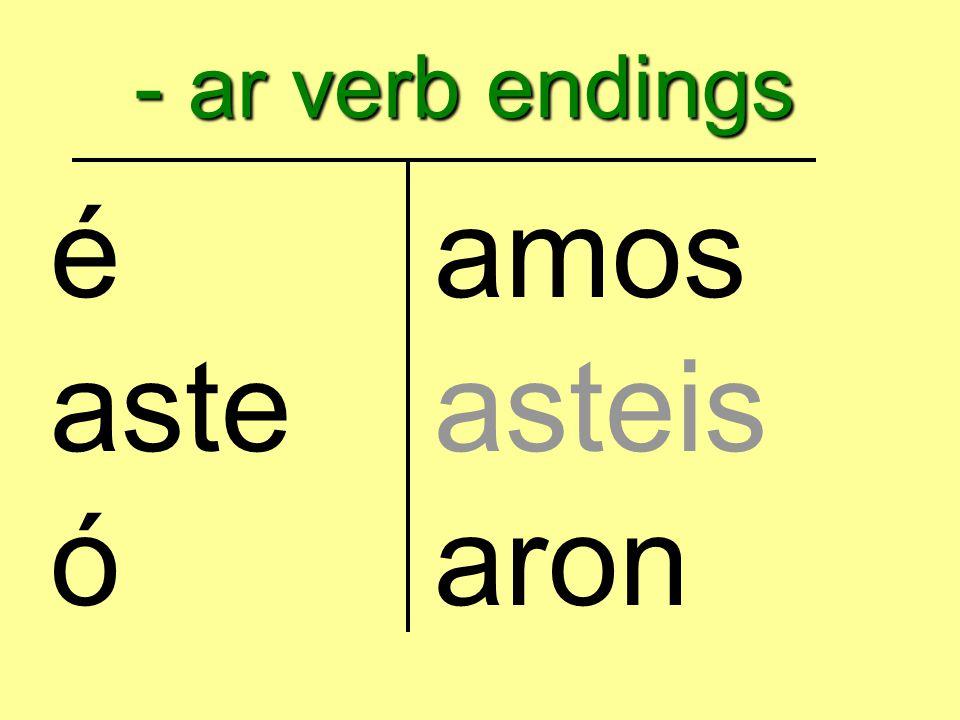- ar verb endings éamos asteasteis óaron