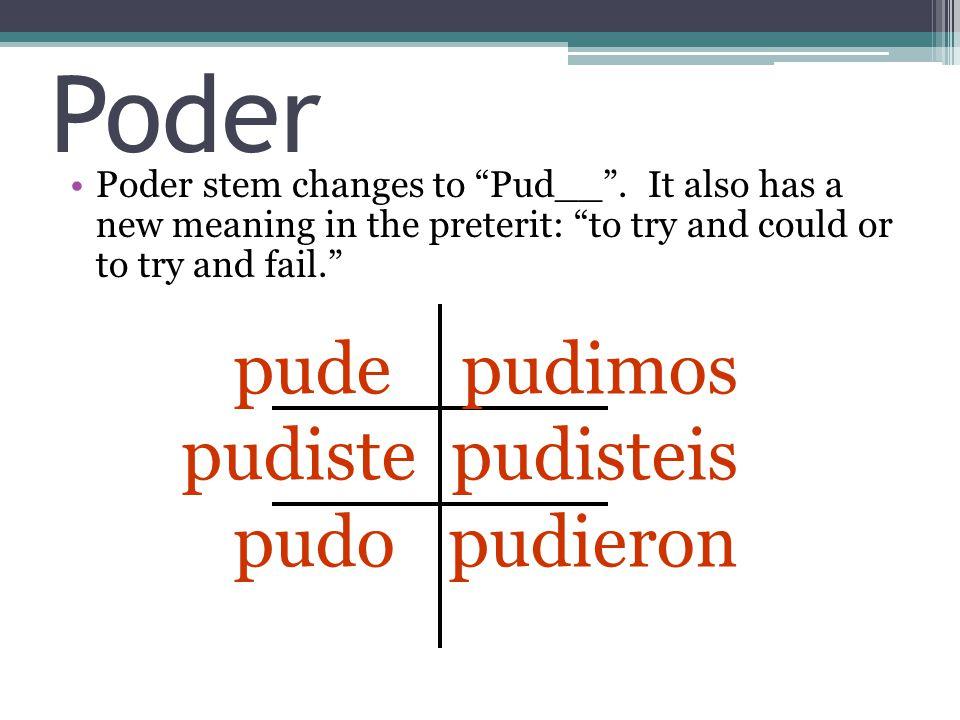 Poder Poder stem changes to Pud__ .