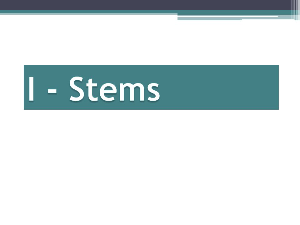 Group 1: I-Stems I-Stem changing verbs take an I in the preterit tense.