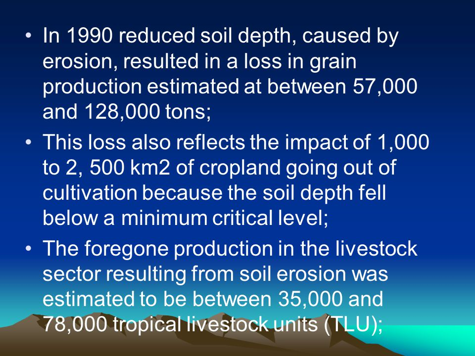 In 1990 reduced soil depth, caused by erosion, resulted in a loss in grain production estimated at between 57,000 and 128,000 tons; This loss also ref