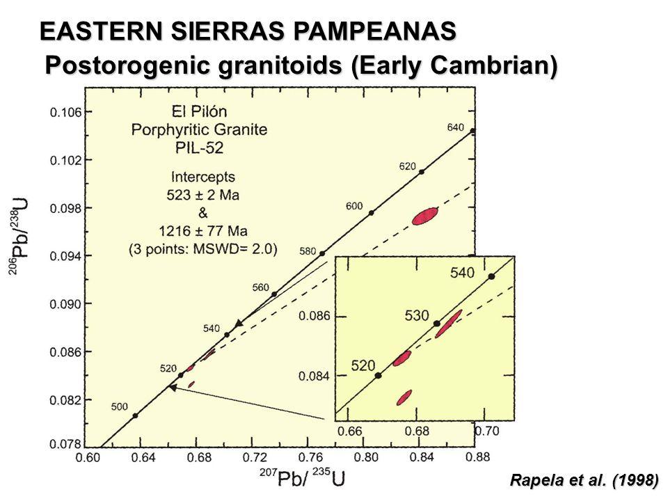 Postorogenic granitoids (Early Cambrian) Rapela et al. (1998) EASTERN SIERRAS PAMPEANAS