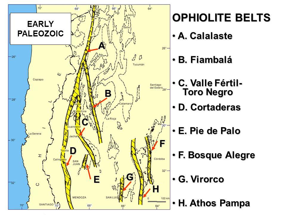 A C B D F G H E OPHIOLITE BELTS A. Calalaste A. Calalaste B.