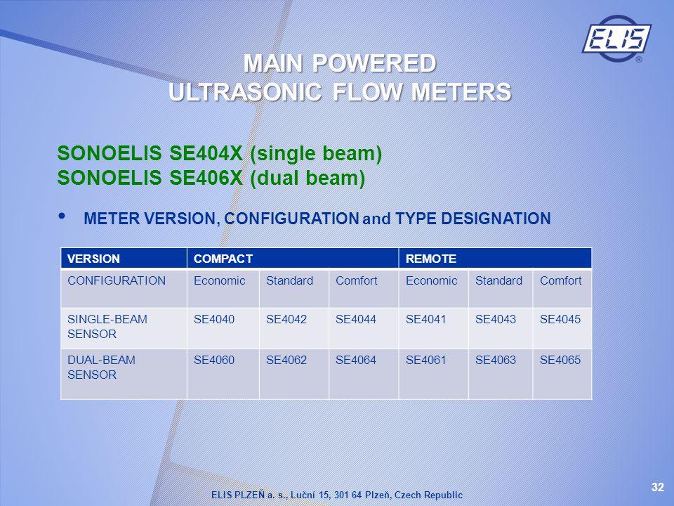 SONOELIS SE404X (single beam) SONOELIS SE406X (dual beam) METER VERSION, CONFIGURATION and TYPE DESIGNATION VERSIONCOMPACTREMOTE CONFIGURATIONEconomic