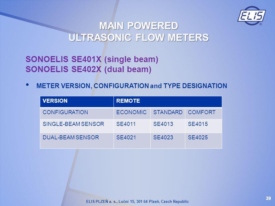 SONOELIS SE401X (single beam) SONOELIS SE402X (dual beam) METER VERSION, CONFIGURATION and TYPE DESIGNATION VERSIONREMOTE CONFIGURATIONECONOMICSTANDAR
