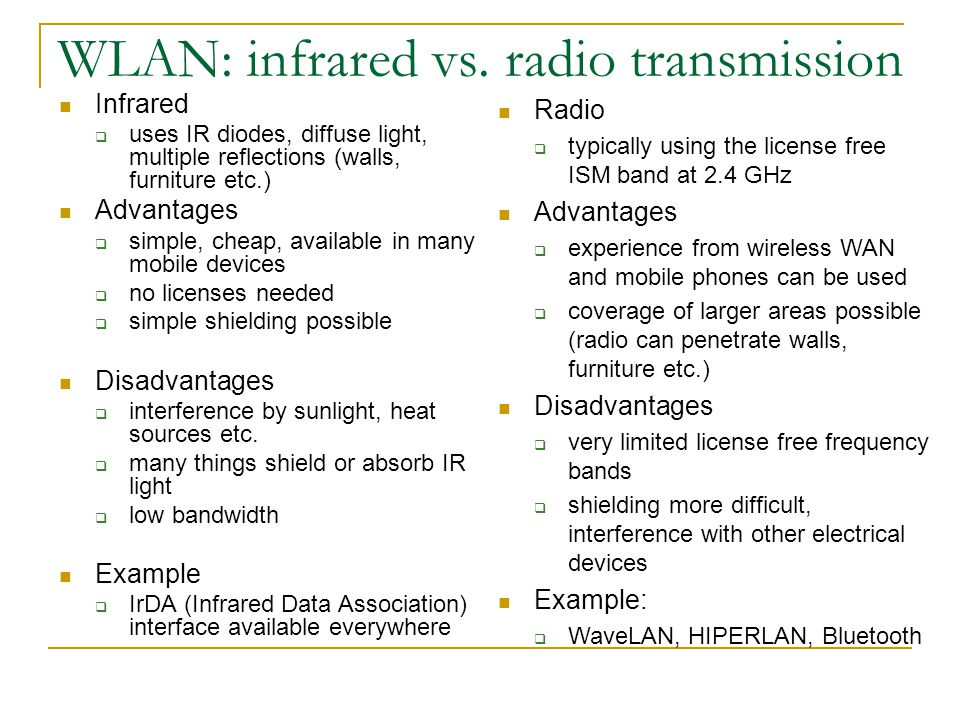 WLAN: infrared vs.