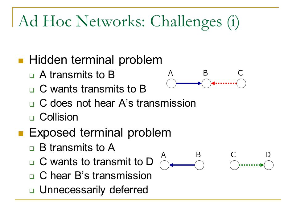 Ad Hoc Networks: Challenges (i) Hidden terminal problem  A transmits to B  C wants transmits to B  C does not hear A's transmission  Collision Exposed terminal problem  B transmits to A  C wants to transmit to D  C hear B's transmission  Unnecessarily deferred A BC A BC D