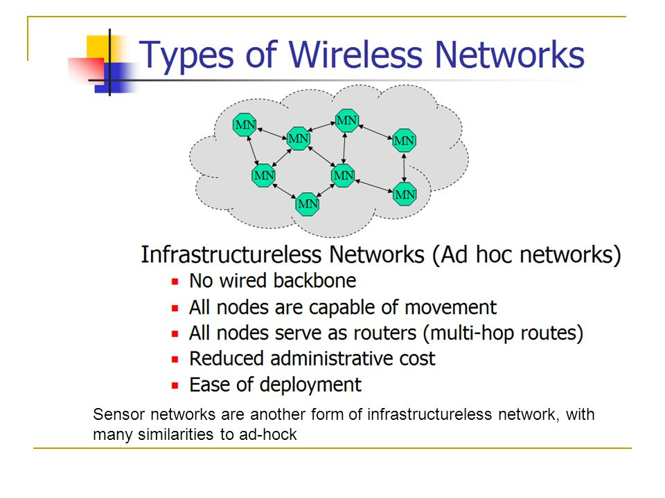 Sensor networks are another form of infrastructureless network, with many similarities to ad-hock