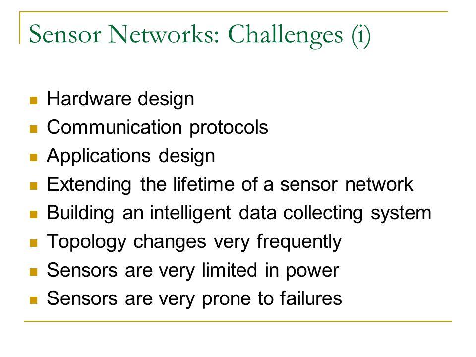 Sensor Networks: Challenges (i) Hardware design Communication protocols Applications design Extending the lifetime of a sensor network Building an int