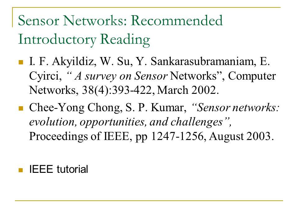 "Sensor Networks: Recommended Introductory Reading I. F. Akyildiz, W. Su, Y. Sankarasubramaniam, E. Cyirci, "" A survey on Sensor Networks"", Computer Ne"