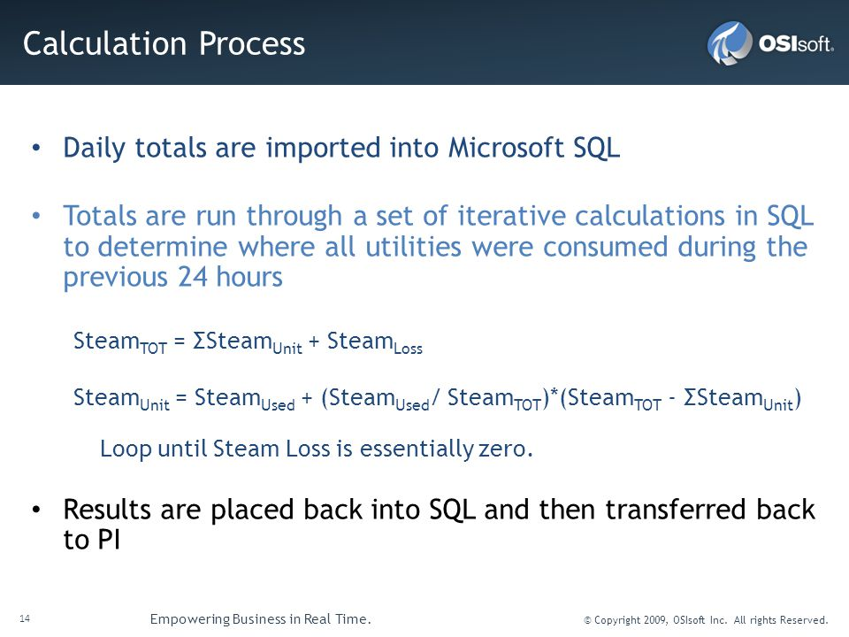 14 Empowering Business in Real Time. © Copyright 2009, OSIsoft Inc. All rights Reserved. Calculation Process Daily totals are imported into Microsoft