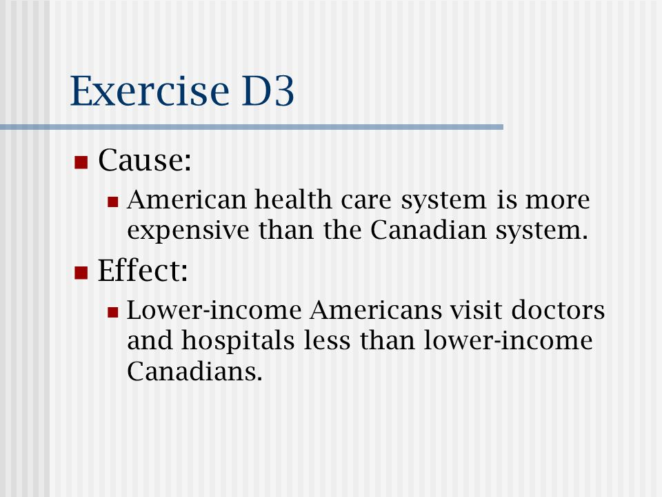 Exercise D3 Cause: American health care system is more expensive than the Canadian system. Effect: Lower-income Americans visit doctors and hospitals