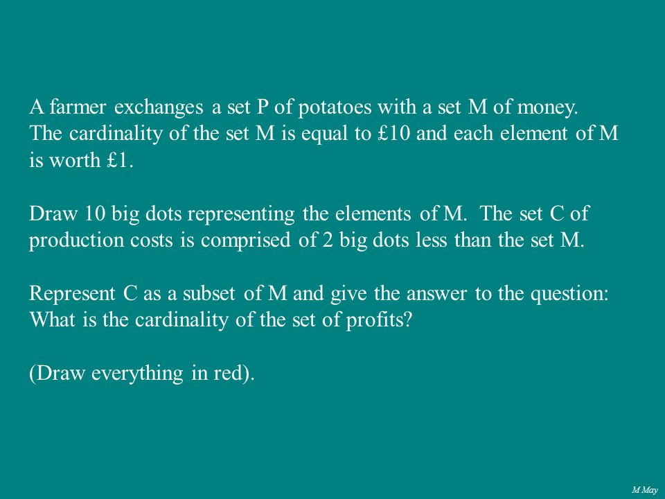 M May A farmer exchanges a set P of potatoes with a set M of money.