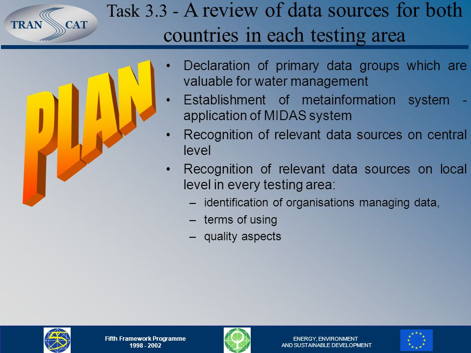 TRANCAT Fifth Framework Programme 1998 - 2002 ENERGY, ENVIRONMENT AND SUSTAINABLE DEVELOPMENT Declaration of primary data groups which are valuable for water management Establishment of metainformation system - application of MIDAS system Recognition of relevant data sources on central level Recognition of relevant data sources on local level in every testing area: –identification of organisations managing data, –terms of using –quality aspects Task 3.3 - A review of data sources for both countries in each testing area