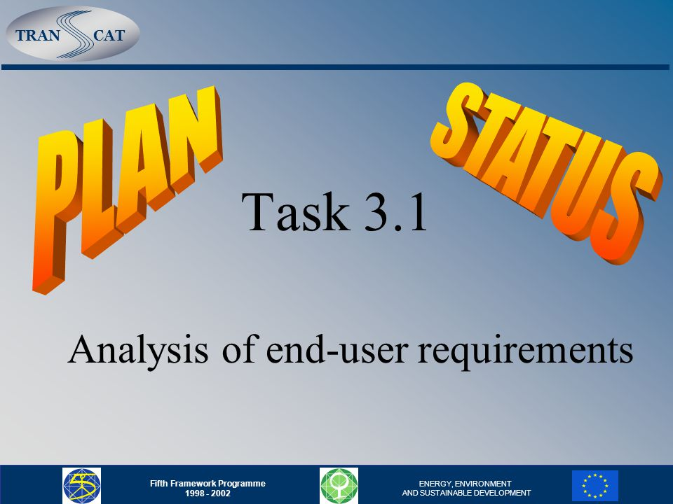 TRANCAT Fifth Framework Programme 1998 - 2002 ENERGY, ENVIRONMENT AND SUSTAINABLE DEVELOPMENT Task 3.2 - Analysis of existing DSS The task is over, information will be used in Task 3.4 and by FEEM in WP2 we are not fully satisfied with the results concerning DSS systems -> we continue with our effort to obtain more information and provide testing and evaluation of them Cooperation with partners in evaluation of models, prepocessor/postprocessor and DSSs.