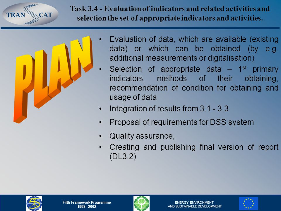 TRANCAT Fifth Framework Programme ENERGY, ENVIRONMENT AND SUSTAINABLE DEVELOPMENT Evaluation of data, which are available (existing data) or which can be obtained (by e.g.