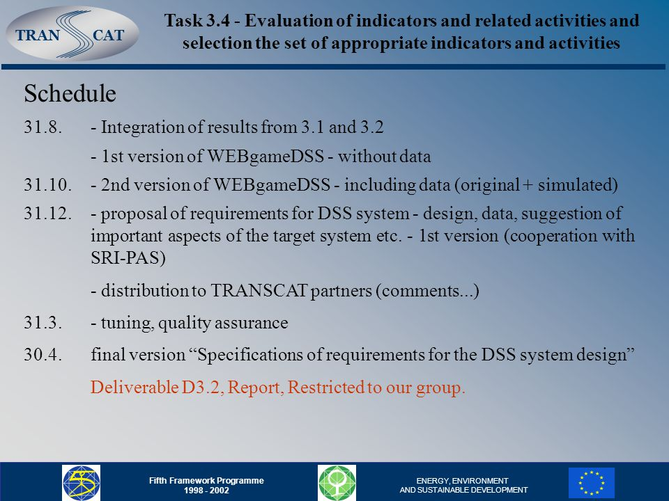 TRANCAT Fifth Framework Programme ENERGY, ENVIRONMENT AND SUSTAINABLE DEVELOPMENT Task Evaluation of indicators and related activities and selection the set of appropriate indicators and activities Schedule 31.8.