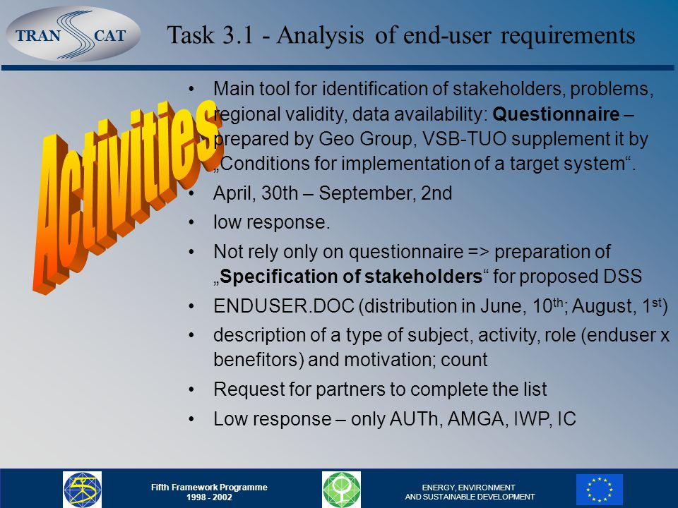 "TRANCAT Fifth Framework Programme 1998 - 2002 ENERGY, ENVIRONMENT AND SUSTAINABLE DEVELOPMENT Task 3.1 - Analysis of end-user requirements Main tool for identification of stakeholders, problems, regional validity, data availability: Questionnaire – prepared by Geo Group, VSB-TUO supplement it by ""Conditions for implementation of a target system ."