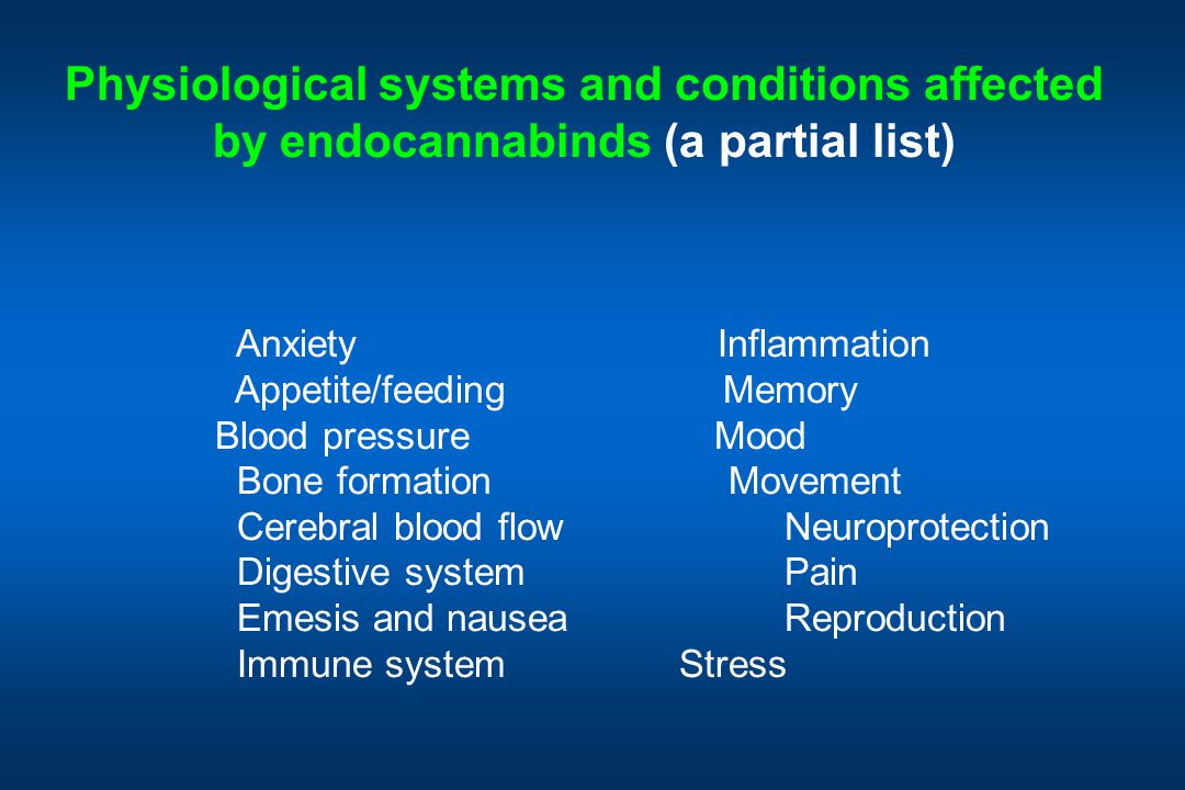 Physiological systems and conditions affected by endocannabinds (a partial list) Anxiety Inflammation Appetite/feeding Memory Blood pressure Mood Bone formation Movement Cerebral blood flow Neuroprotection Digestive system Pain Emesis and nausea Reproduction Immune system Stress  LOH 2004