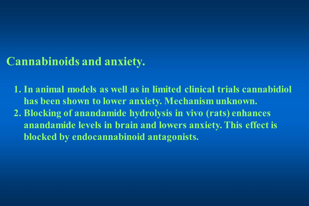 Cannabinoids and anxiety. 1.
