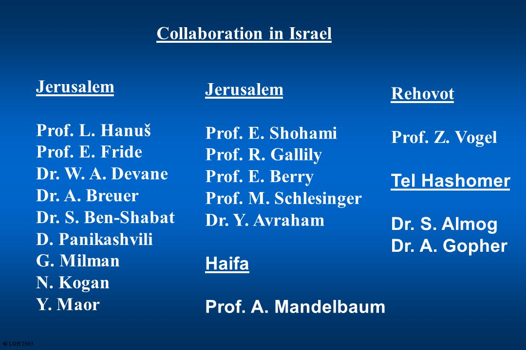 Collaboration in Israel Jerusalem Prof. L. Hanuš Prof.